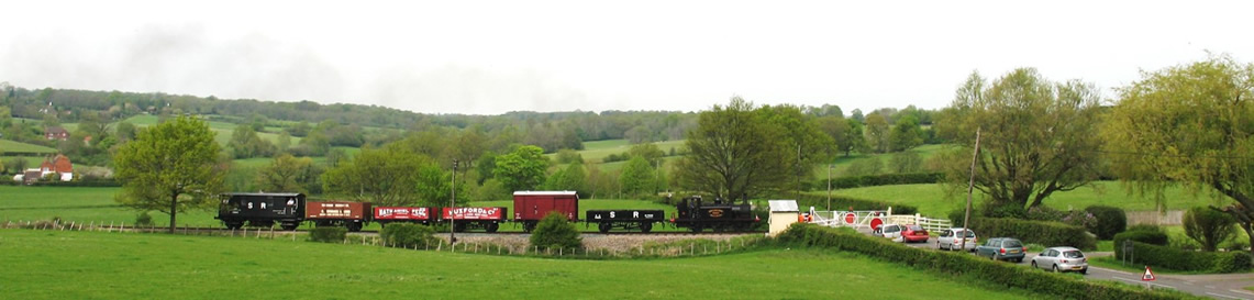 No 3 Bodiam crosses Cranbrook Road with a Tenterden-bound goods train at the K&ESR's Spring Gala on 4 May 2008. © Graham Hukins