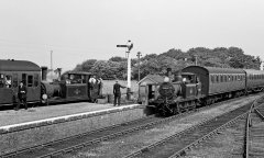 Two Terrier-hauled trains at Hayling Island Station on 8 June 1963. © M.J.Fox/Rail Archive Stephenson