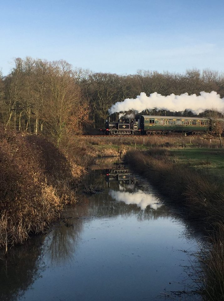 32678 reflected in a drainage channel  as she heads towards Rolvenden with a photocharter on 22 Feb 19  © Andrew Hardy