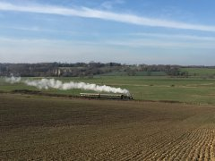 32678 steams past Bodiam Castle with a photocharter on 22 Feb 19  © Andrew Hardy