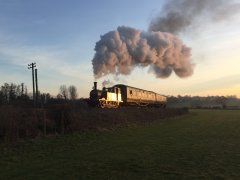 32678 catches the setting sun as she heads around Orpin's Curve with a photocharter on 22 Feb 19  © Andrew Hardy