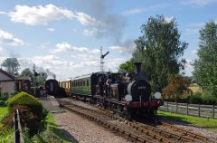 32678 and 32670 head the Wealden Pullman through Northiam on 6 September 2015. © Hugh Nightingale